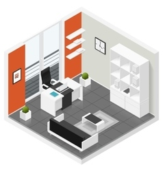 Home offices room isometric icon set vector