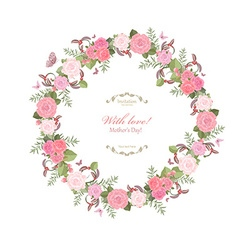 cute floral wreath with lovely roses for your vector image