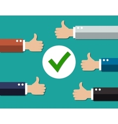 cartoon Businessmans hands hold thumbs up vector image