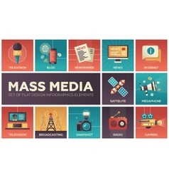 Mass media line design icons set vector