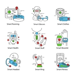 Smart technology line icon set vector