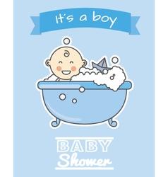 Baby boy in bath vector
