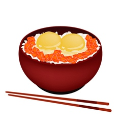 Bowl of boiled rice with raw egg and salmon vector
