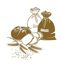 bread wheat and sacks of flour on the white vector image