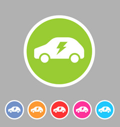 electric car icon flat web sign symbol logo label vector image vector image