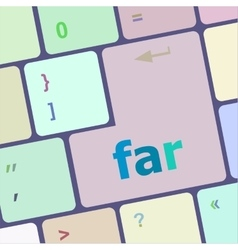 far word on keyboard key notebook computer button vector image vector image