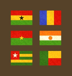 Flags of Ghana Chad Burkina Faso Niger Togo and vector image