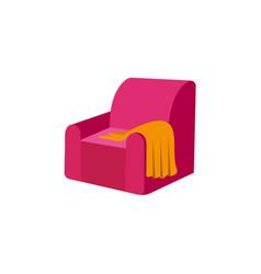 Flat armchair with woolen blanket or rug vector
