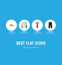 Flat icon garment set of cravat elegant headgear vector