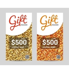 Gift Voucher template with Golden pattern design vector image vector image