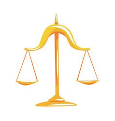 golden scales of justice cartoon vector image
