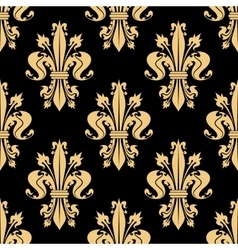 Golden seamless pattern of royal fleur-de-lis vector