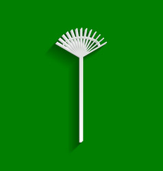Lawn rake sign paper whitish icon with vector