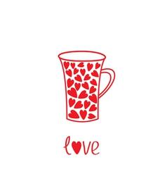 Love mug with hearts Love card vector image vector image