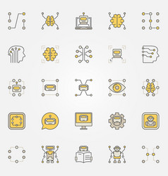 Machine learning colorful icons set vector
