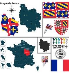 Map of Burgundy vector image vector image