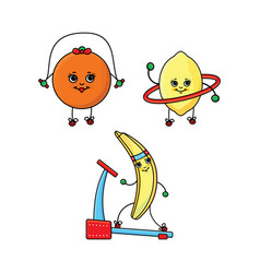orange lemon and banana characters doing sport vector image