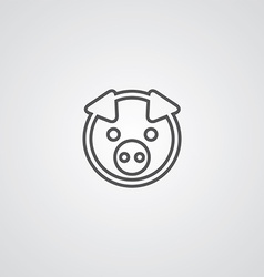 Pig outline symbol dark on white background logo vector