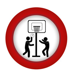 Red circle with men playing basketball vector