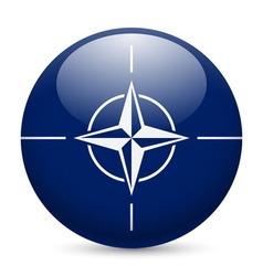 Round glossy icon of nato vector