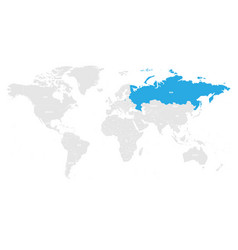 russia marked by blue in grey world political map vector image vector image
