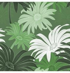 Seamless green daisy background vector