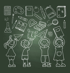 Shool icons on the green blackboard vector