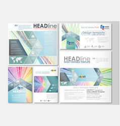 Social media posts set business cover template vector