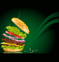 Steaming hamburger vector