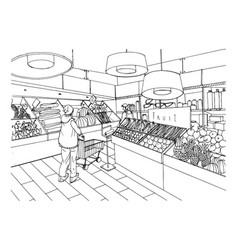 Supermarket interior in hand drawn style grocery vector