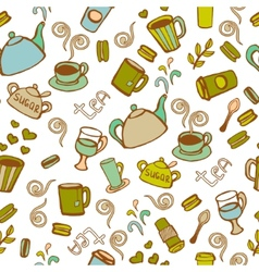 Tea and coffee seamless background vector image vector image