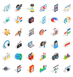 Web extension icons set isometric style vector