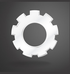 white gear realistic on grey background vector image vector image