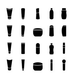 Icon black cosmetics bottle set on white vector