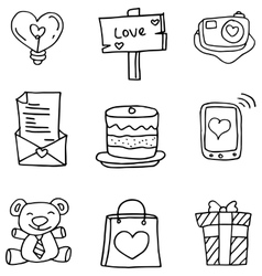 Hand draw of object love doodles vector