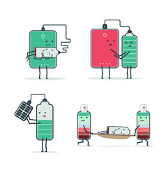Set of isolated icons of cartoon batteries and vector