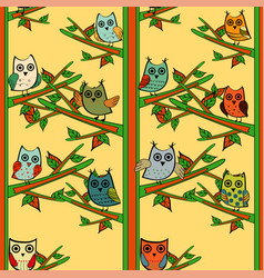 Owl tree branch vertical seamless pattern vector