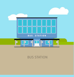 Colored bus station building vector