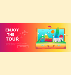 Enjoy the tour - line travel web page vector