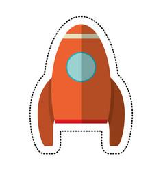orange rocket transport exploration shadow vector image