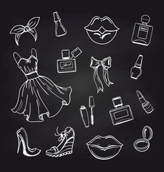 Sketch of fashion elements on chalkboard vector