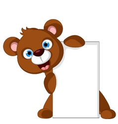 Brown bear cartoon with blank sign vector
