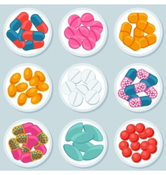 Assortment of pills and capsules in container vector