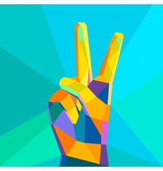 Victory hand geometrical style vector