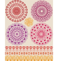 Set of beautiful mandalas and patterns vector image