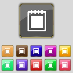 Notepad icon sign set with eleven colored buttons vector