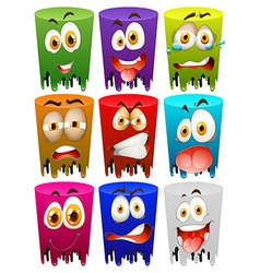 Facial expression on color tubes vector