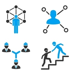 People relation networks flat bicolor icons vector