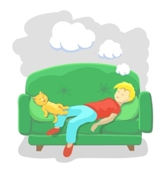 Man sleeping at home on sofa vector