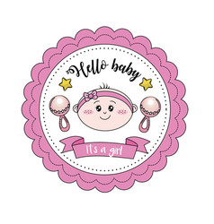 Baby shower emblem to welcome a girl vector